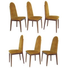 Set of Six Mid-Century Rosewood High Back Dining Chairs