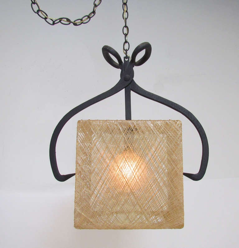 Rare Whimsical Pendant Light In Form Of Ice Tongs And Cube
