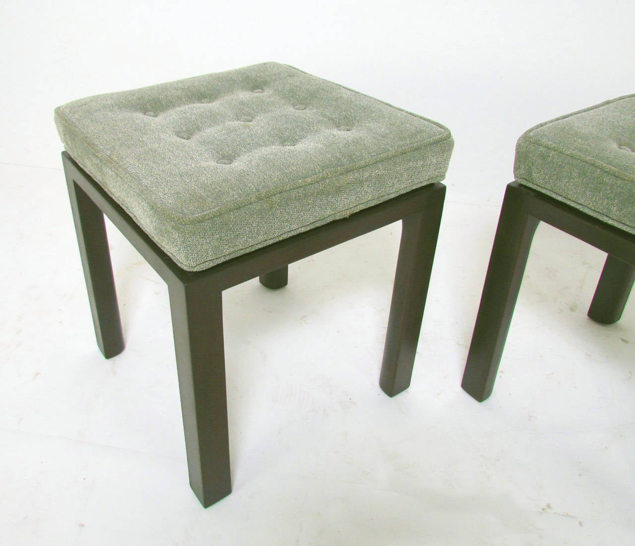 Pair Of Stools By Harvey Probber, Square Form With Quarter Rounded Legs.  Original