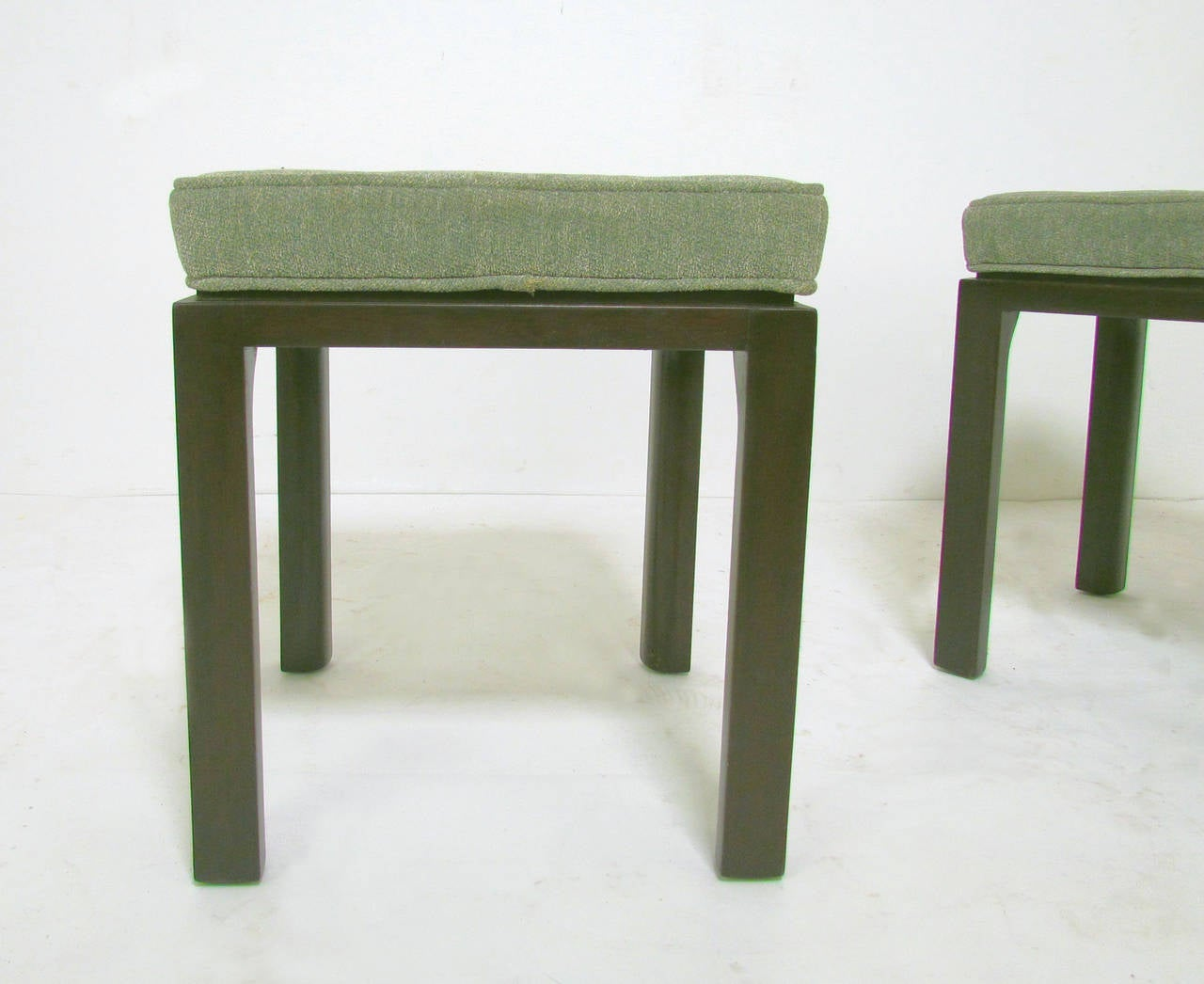 Upholstery Pair Of Mid Century Modern Stools By Harvey Probber For Sale