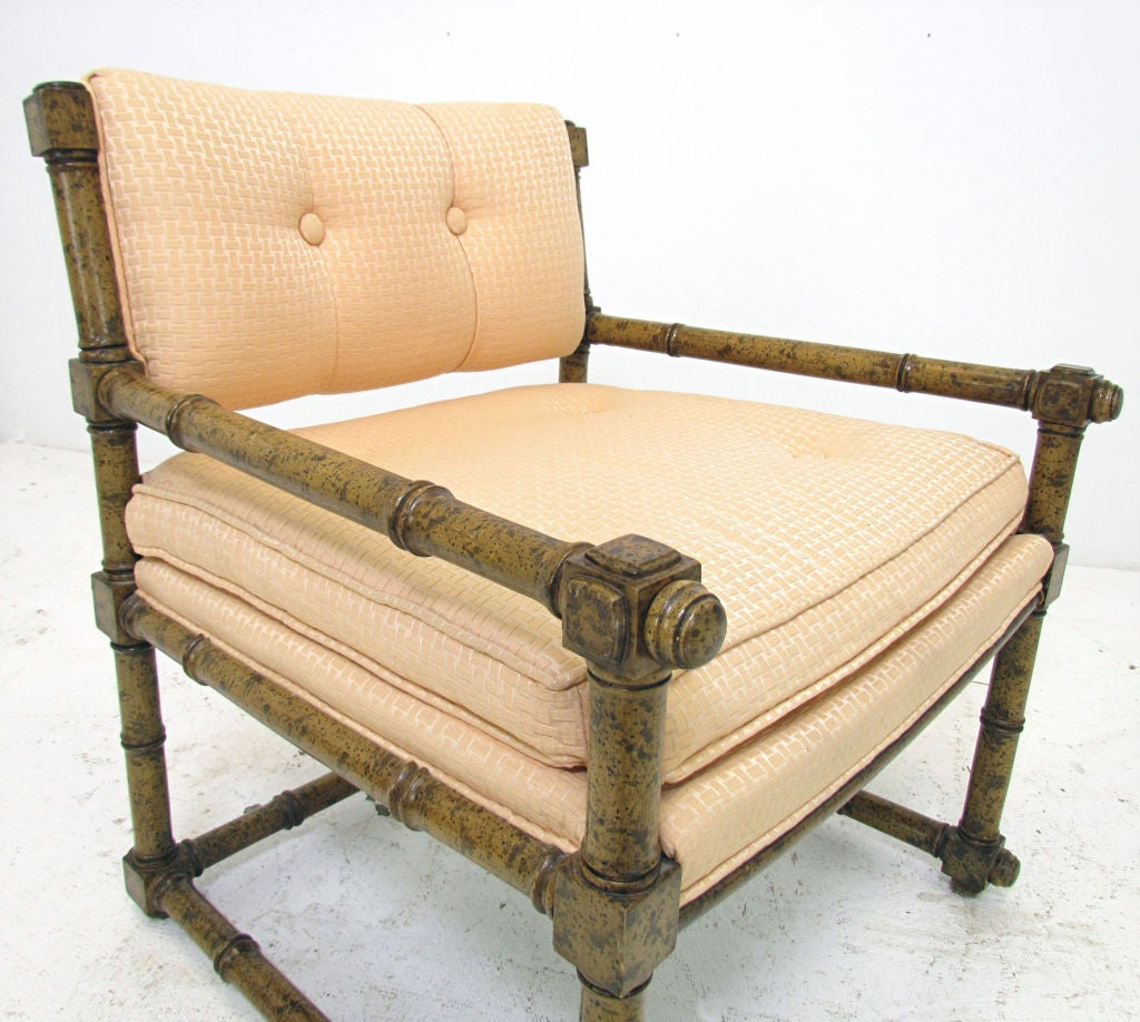 Pair of elegant mid century block and spindle arm chairs