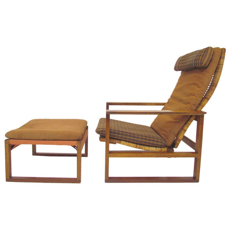 Danish High Back Lounge Chair And Ottoman By Borge Mogensen At 1stdibs