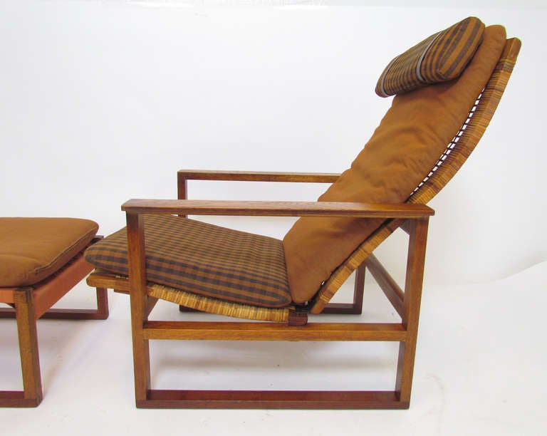 Danish High Back Lounge Chair And Ottoman By Borge