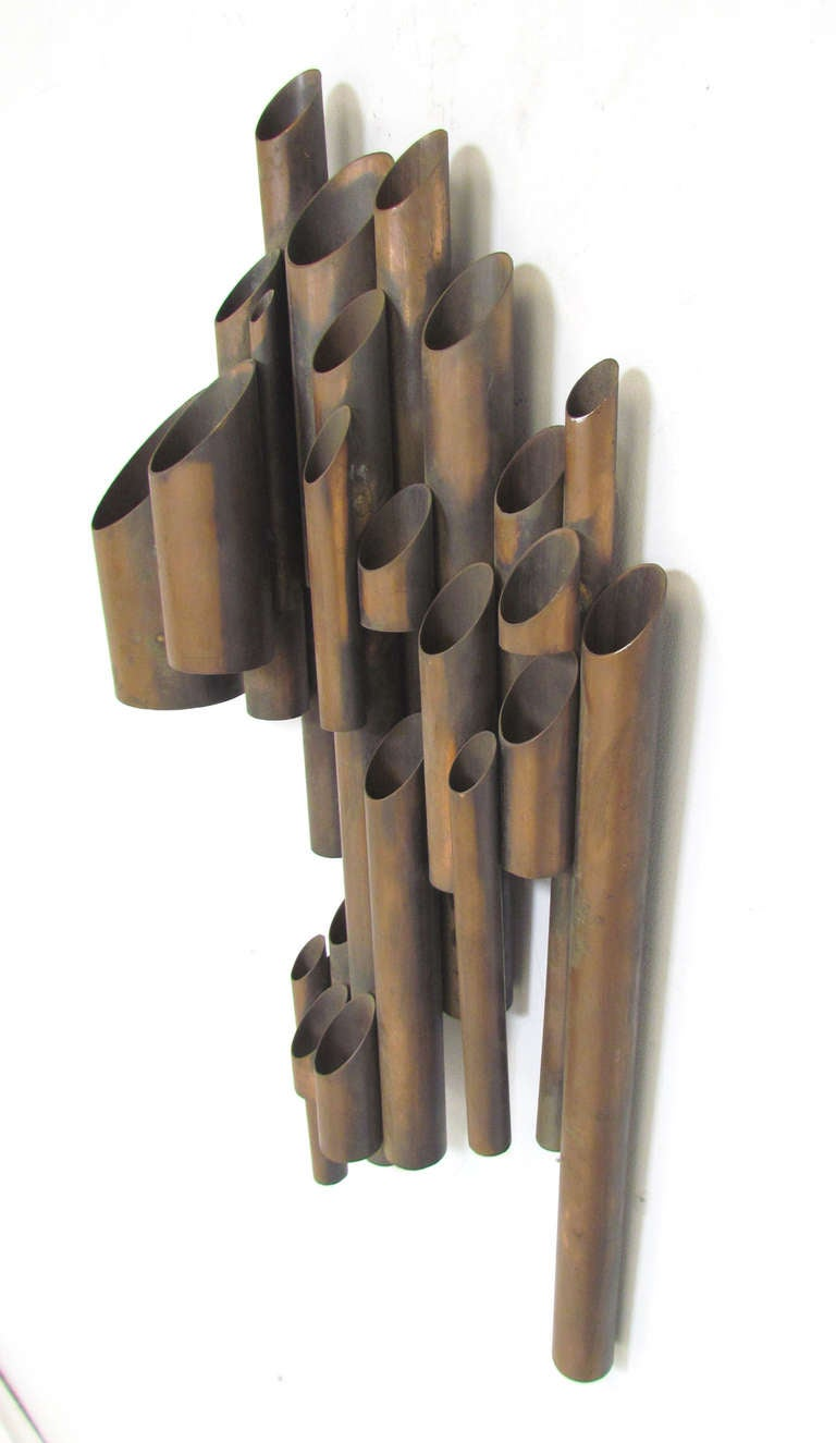 Artist Made Tubular Industrial Wall Sculpture In Copper