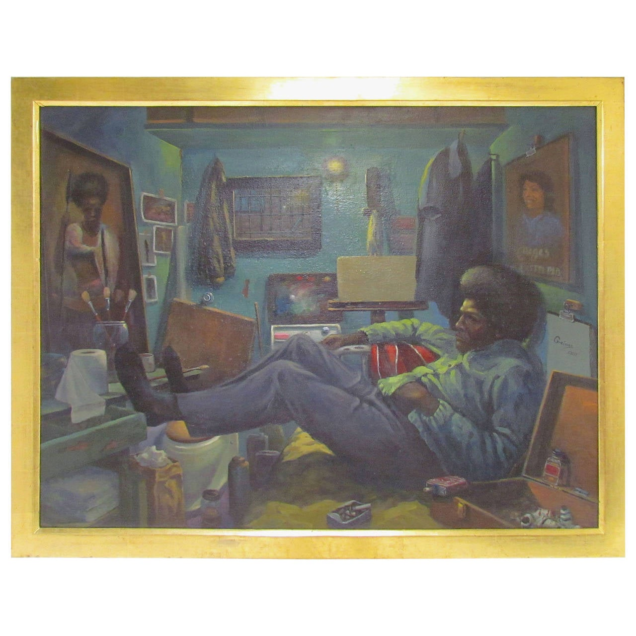 Exemplary Prison Art Self-Portrait Painting by Joel Gaines, circa 1970s