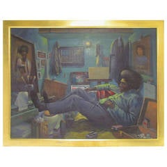 Exemplary Prison Art Self-Portrait Painting by Joel Gaines, circa 1970s