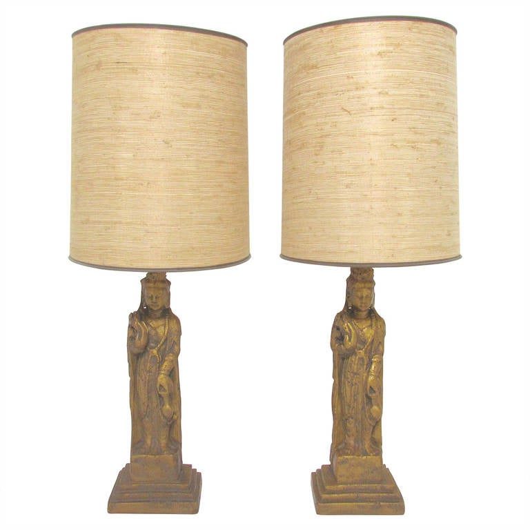 Pair of hollywood regency standing buddha table lamps by westwood pair of hollywood regency standing buddha table lamps by westwood for sale aloadofball Image collections