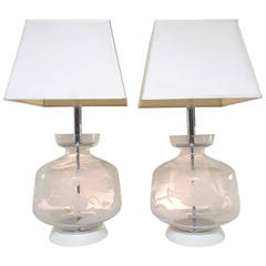 Pair of Murano Etched Glass Lamps in Manner of Balsamo Stella and Pelzel