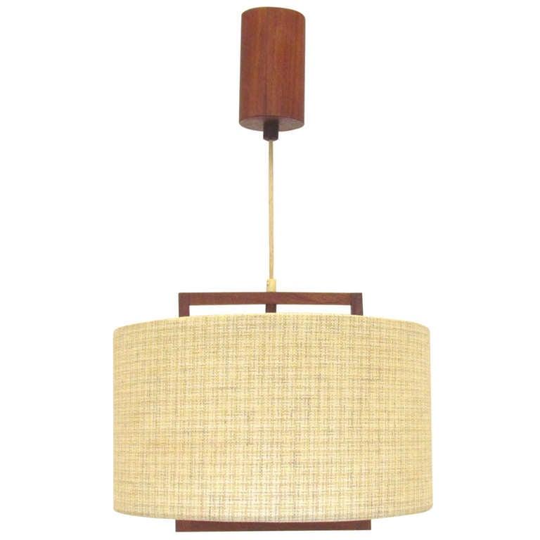 Danish modern teak hanging light fixture ca 1960s at 1stdibs for Danish modern light fixtures