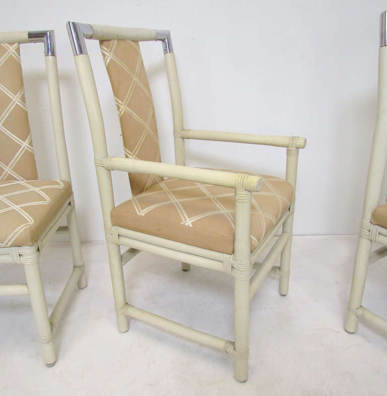 set of six real not faux bamboo dining chairs with