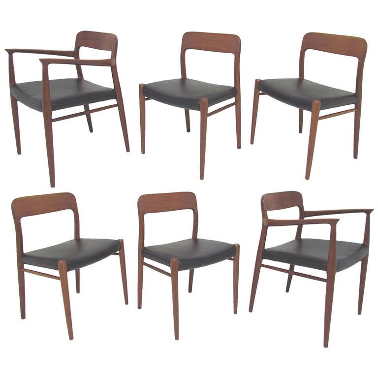 Set Of Six Teak Dining Chairs By Niels Møller For JL