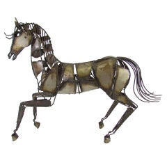 Magnificent Brutalist Torch Cut Metal Work Sculpture of a Horse