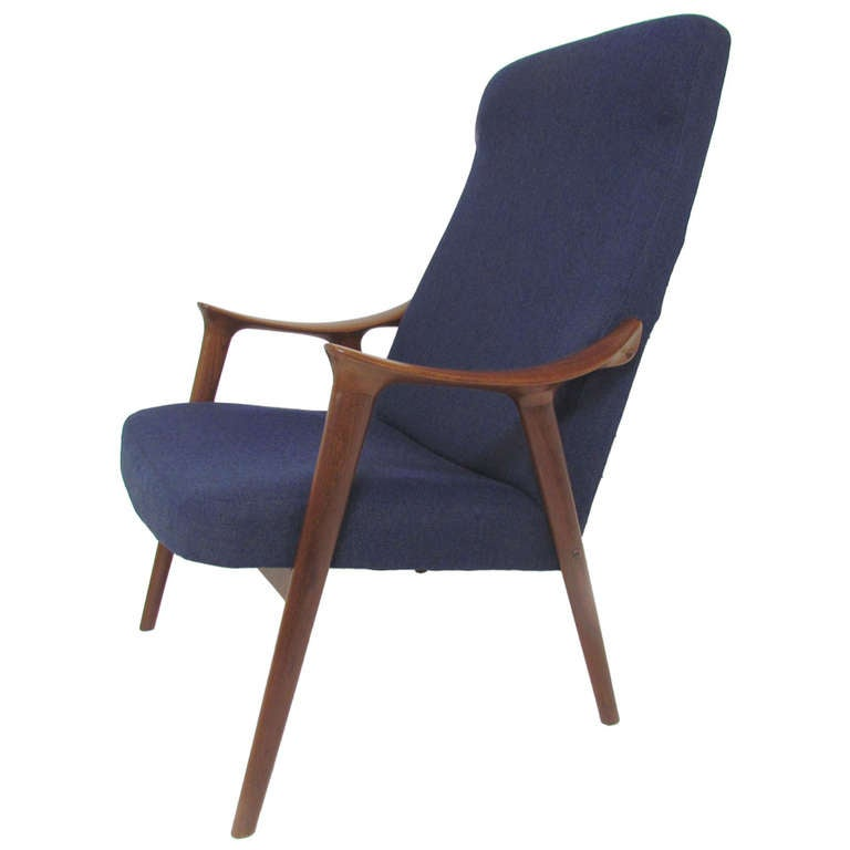 Danish Modern Teak Highback Lounge Chair ca 1950s at 1stdibs