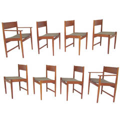 Set of Eight Danish Teak Dining Chairs by Kurt Ostervig for Sibast