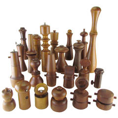 Collection of Danish Modern Teak and Rosewood Pepper Mills