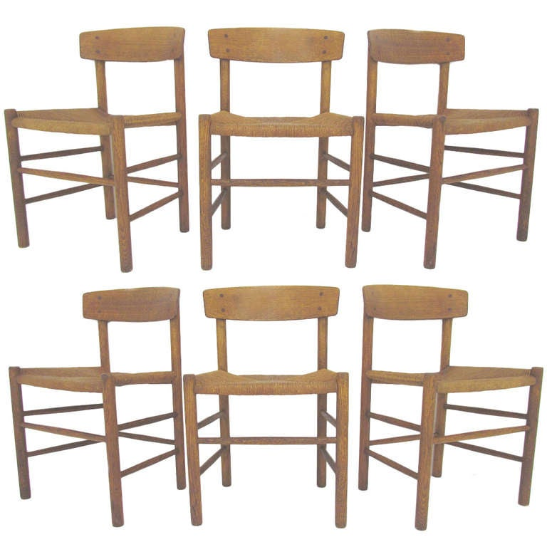 Set of six danish shaker dining chairs by borge mogensen at 1stdibs - Shaker dining room furniture ...