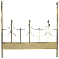 Hollywood Regency Style King Size Brass Headboard by Mastercraft