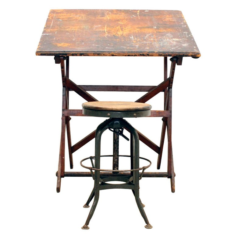 Keuffel And Esser Drafting Table And Toledo Stool At 1stdibs