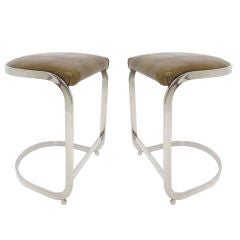 Pr. Cantilever Counter Height Bar Stools in Chrome and Leather