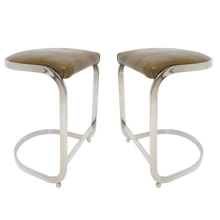 Admirable Pr Cantilever Counter Height Bar Stools In Chrome And Pdpeps Interior Chair Design Pdpepsorg