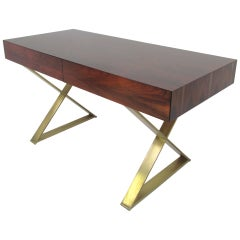 Rare Flush Front Campaign Desk in Rosewood by Milo Baughman