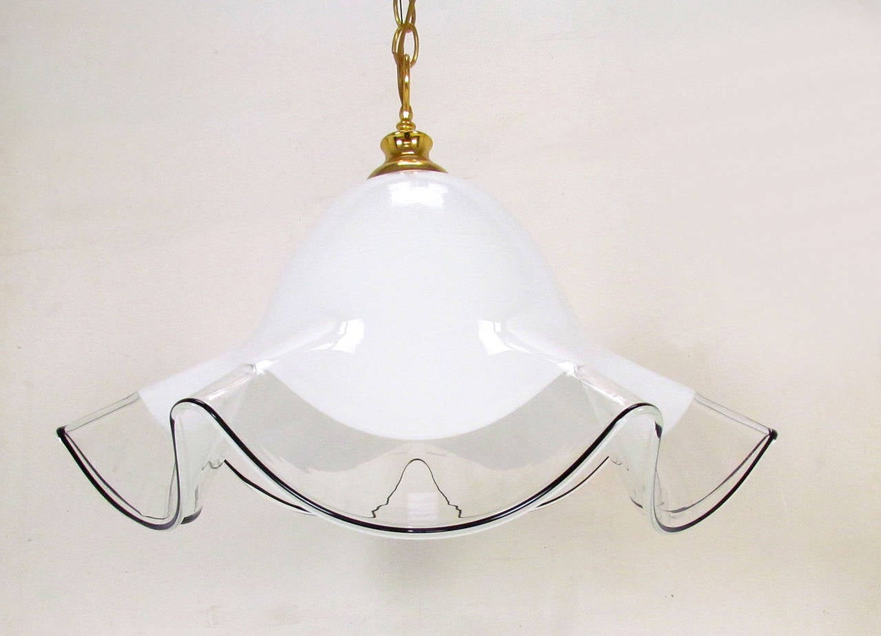 murano art glass fazzoletto style pendant light at 1stdibs. Black Bedroom Furniture Sets. Home Design Ideas