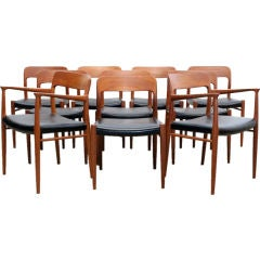 Set of Ten Danish Teak and Leather Dining Chairs by Niels Moller