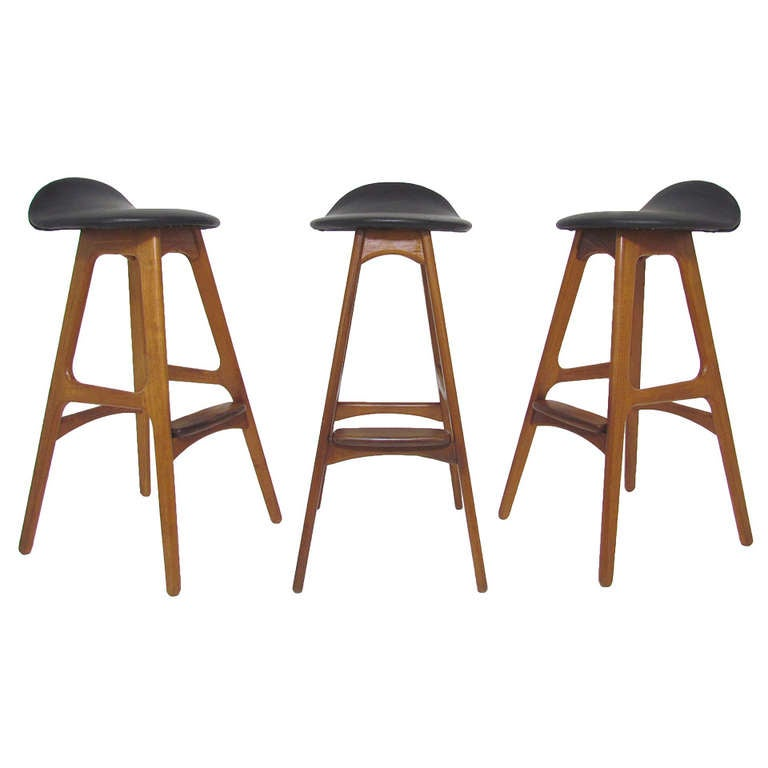 Set Of Three Danish Teak And Leather Bar Stools By Erik