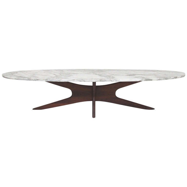 Mid Century Modern Marble Top Surfboard Coffee Table At 1stdibs