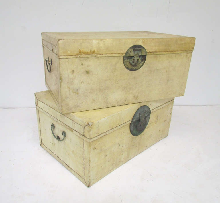 Pair of Chinese Vellum Leather Storage Trunks ca. 1920s image 2