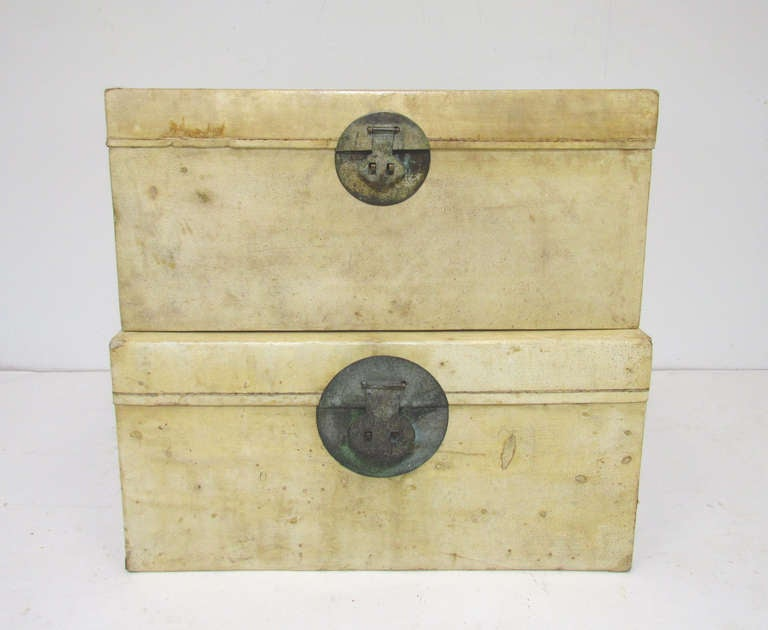 Pair of Chinese Vellum Leather Storage Trunks ca. 1920s image 3