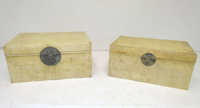Pair of Chinese Vellum Leather Storage Trunks ca. 1920s image 5