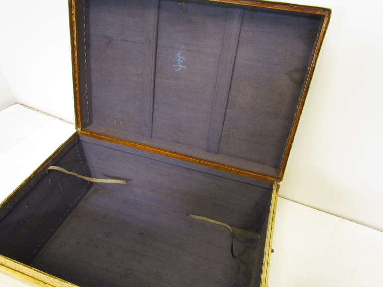 Pair of Chinese Vellum Leather Storage Trunks ca. 1920s image 8