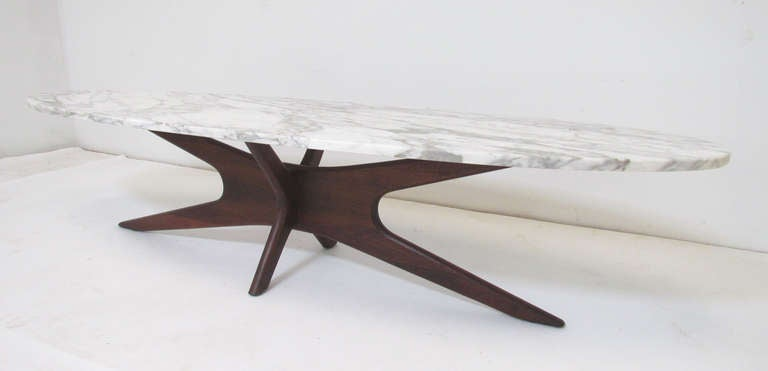 American Mid Century Modern Marble Top Surfboard Coffee Table For Sale