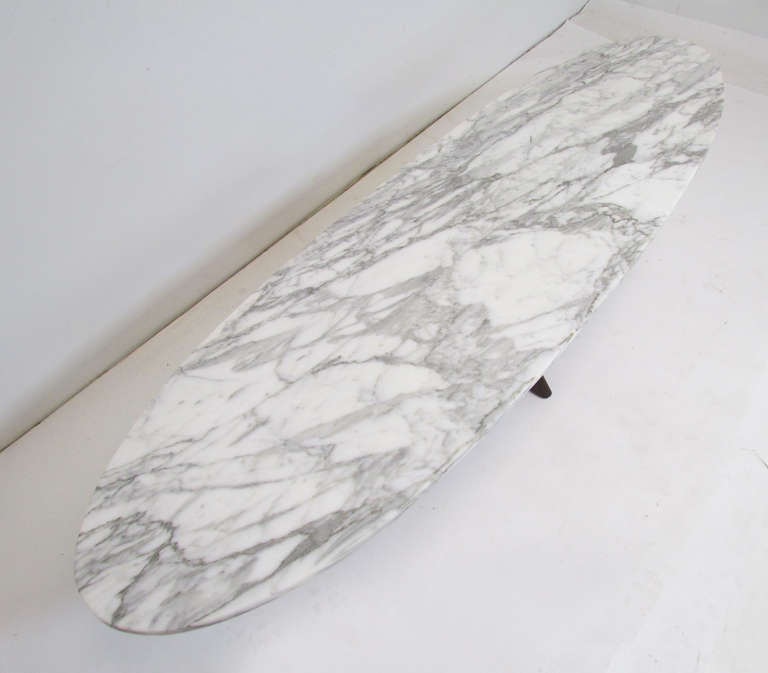 Mid Century Surfboard Coffee Table At 1stdibs: Mid-Century Modern Marble Top Surfboard Coffee Table At