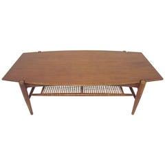 Danish Modern Teak Coffee Table with Cane Shelf by Folke Ohlsson, circa 1960s