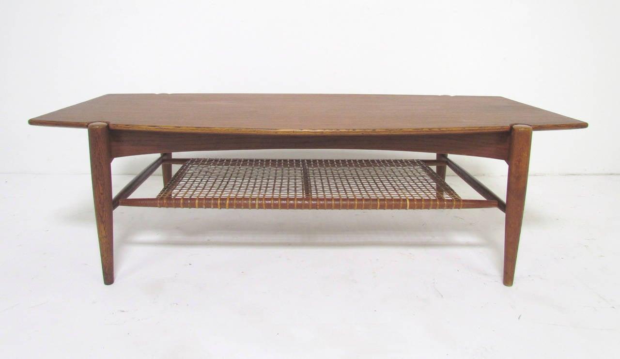 Beautiful Danish Modern Teak Coffee Table With Cane Shelf By Folke Ohlsson, Circa  1960s 2