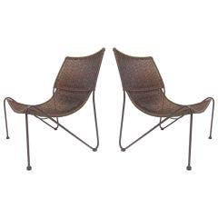 Pair of Wicker Lounge Chairs After Van Keppel and Green