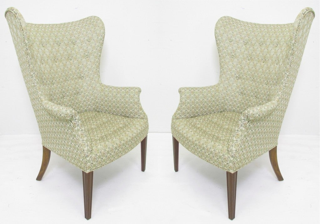Pair Of Mid Century Modern Wing Back Lounge Chairs At 1stdibs