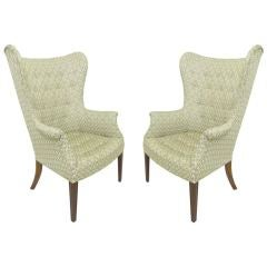 Pair of Mid-Century Modern Wing Back Lounge Chairs