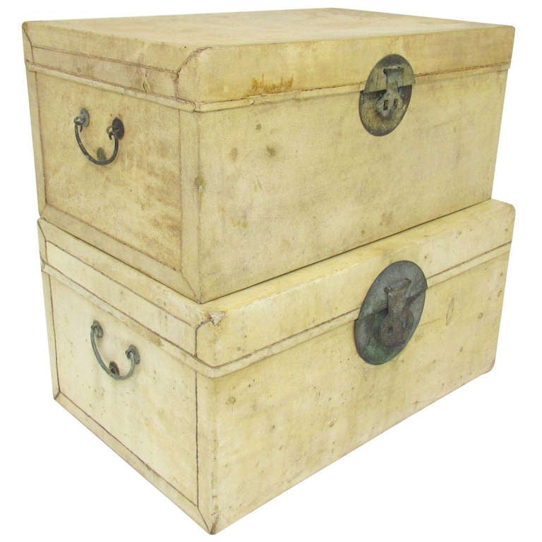 Pair of Chinese Vellum Leather Storage Trunks ca. 1920s
