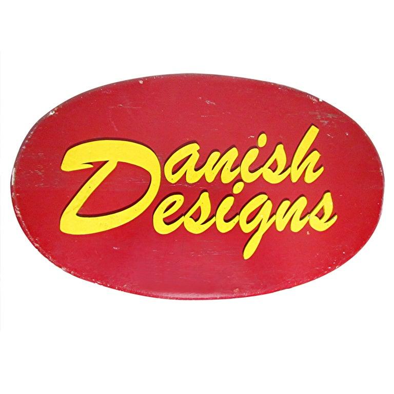 "Monumental ""Danish Designs"" Wooden Advertising Sign"
