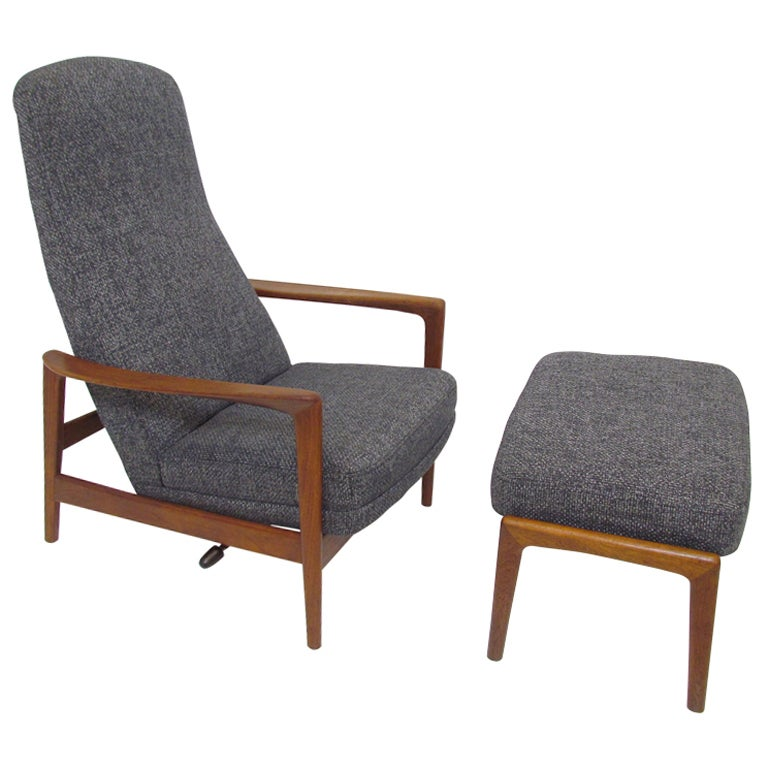 Reclining Teak Highback Lounge Chair And Ottoman By Folke Ohlsson For Dux At