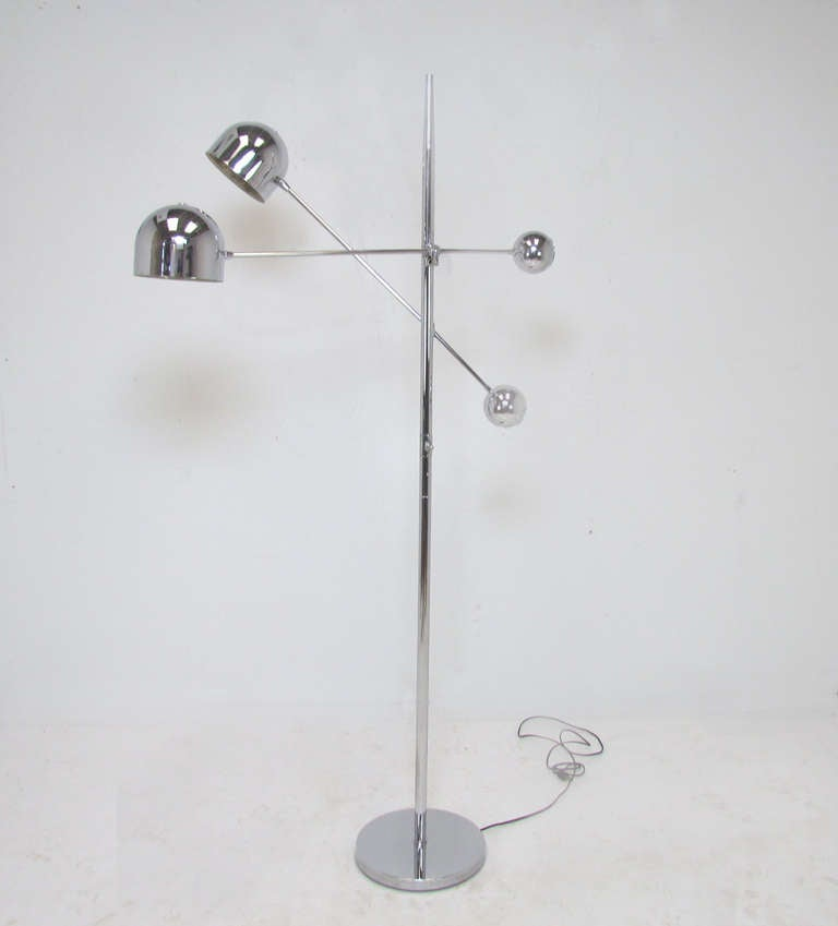 Space Age Two Arm Adjustable Chrome Floor Lamp Ca 1970s