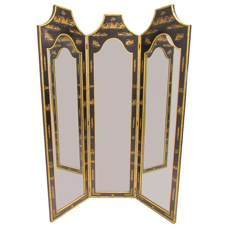 Hollywood Regency Chinoiserie Three Panel Dressing Mirror