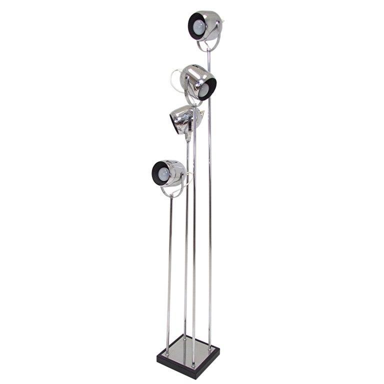 Italian chrome four spot floor lamp by reggiani at 1stdibs for Reggiani chrome floor lamp