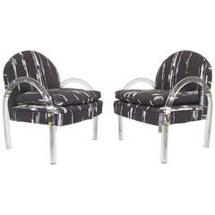 Pair of Lucite Lounge Arm Chairs by Pace Collection