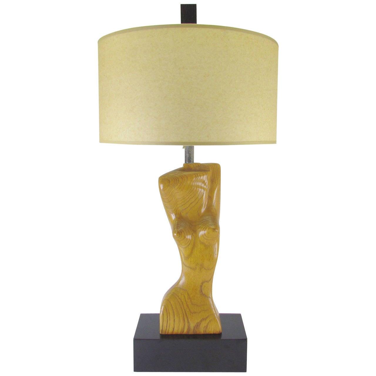 Sculptural Carved Torso Table Lamp in Carved Oak by Yasha Heifetz