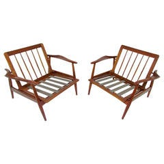 Pair of Danish Modern Style Teak Lounge Chairs Made in Spain