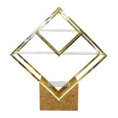 Large and Unusual Diamond-Form Brass Display Shelf